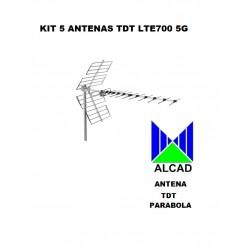 Kit 5 Antenas Tdt Lte700 5G 16Db