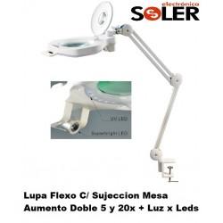 Flexo Lupa x5 y x20 Triple Luz Regulable